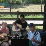 Michael, Don, and Cathy,rehearsing for farmers market